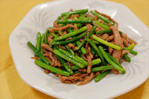 かりん7にんにくの芽と牛肉の炒め